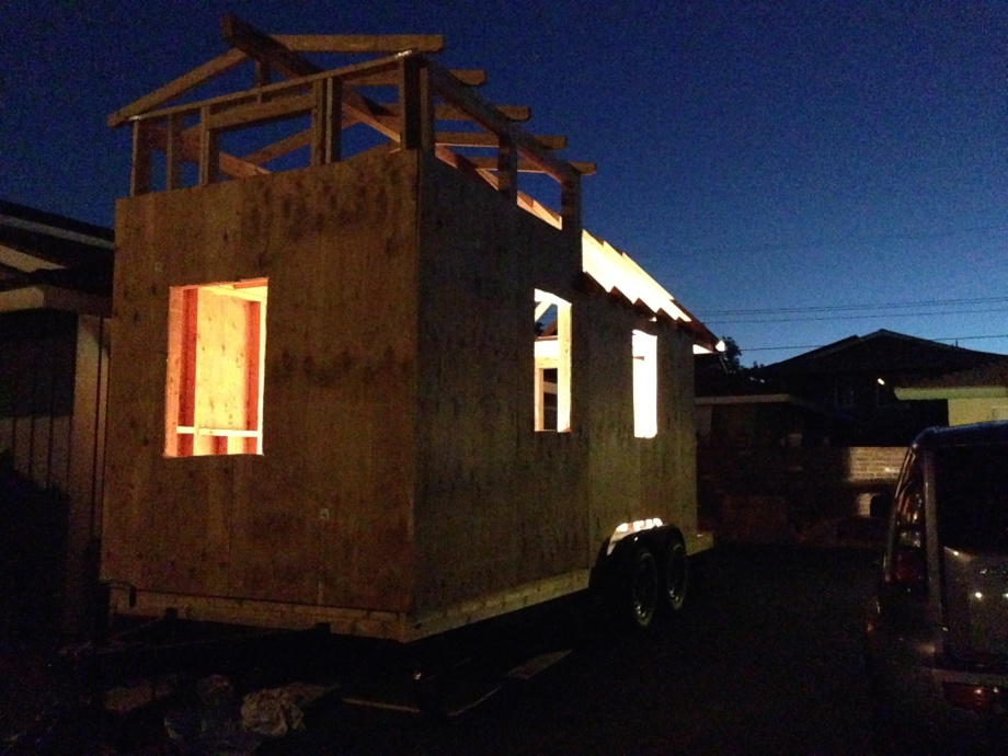 what the tiny house will look like at night with lights on